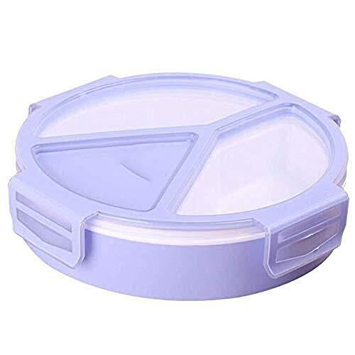 Lqpfx-fh Box lunch reutilizable 500ml Ronda 3 compartimentos de plástico dividida almacenamiento de alimentos, comidas de preparación Cajas for niños y adultos, microondas/congelador Caja disfrutar