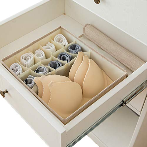 Sentao Underwear Socks Storage Organizer with Lids Foldable Closet Drawer Divider, Cotton linen Storage Box Bin for Socks Bras Underwear Ties Scarves and Lingerie in Wardrobe
