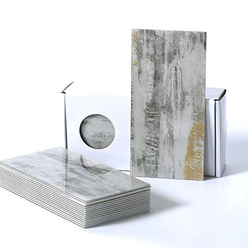 BeNice Faux Marmor Fliesen-U-Bahn, Selbstklebende Wandfliesen Wasserdicht Für Bad in Der Küche(98 x 198 mm x 23 Stück) (Califonia Grey)