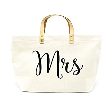 PumPumpz Personalized Gifts Wedding  Mrs  Canvas Tote Bags With Gold Box Package.- Which arrive you within 5 days (Mrs black)