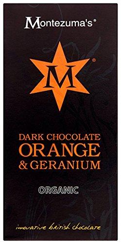 MONTEZUMA'S CHOCOLATE Organic Dark Chocolate with Orange & Geranium - Emperor Bar 100g (Pack of 4)