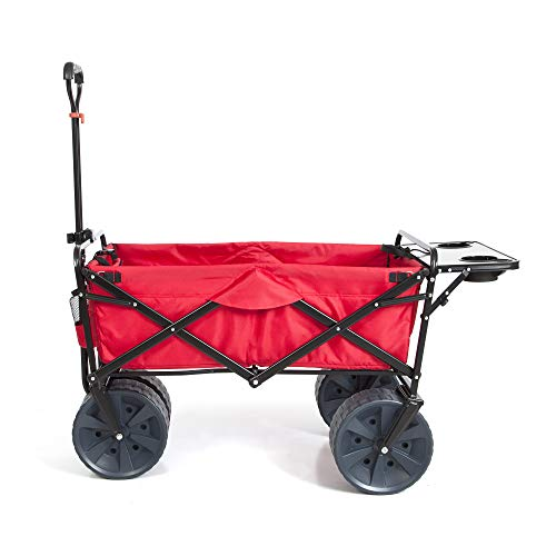 Mac Sports Heavy Duty Collapsible Folding All Terrain Utility Beach Wagon Cart (Red/Black)