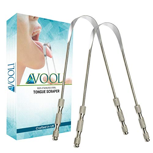 Avooli 2 PCS Tongue Scraper-Stainless Steel Tounge scrapers Tongue Care...