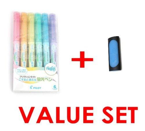 Pilot Frixion Light Fluorescent Ink Soft Color Erasable Highlighter Pen - 6 Color Set/value Set Which Attached the Eraser Only for Friction