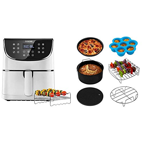 COSORI Air Fryer(100 Recipes, Rack & 5 Skewers),5.8QT Electric Hot Air Fryers Oven Oilless Cooker,11 Presets, 1700W,White & Air Fryer Accessories XL (C158-6AC), Set of 6 Fit all 5.8Qt, 6Qt Air Fryer