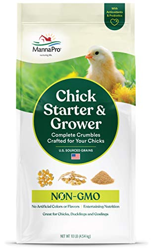 Manna Pro Chick Starter and Grower   Chick Crumbles   Non-GMO   With Antioxidants and Probiotics   No Artificial Flavors or Medications   10 LB