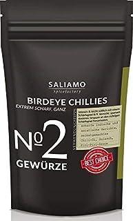 Bird Eyes Chili sehr scharf, 100.000 Scoville, Ideal für Chiliöl und Chilisalz, intensives Chiliaroma, Chili ganz, Chilischoten Schärfegrad 8-9 100 g | Saliamo