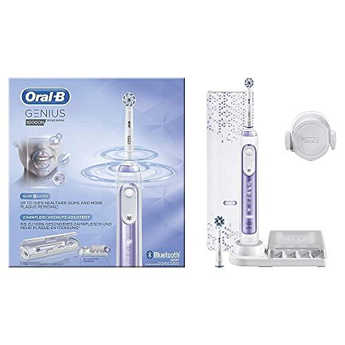 Oral-B Genius 10000N Elektrische Zahnbürste mit Zahnfleischschutz-Assistent & Premium Lade-Reise-Etui, orchid purple