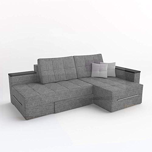 VitaliSpa XXL Ecksofa mit Schlaffunktion 240 x 160 cm Grau - Eckcouch Relax Sofa Couch Schlafsofa Kissen Schlafcouch Taschenfederkern