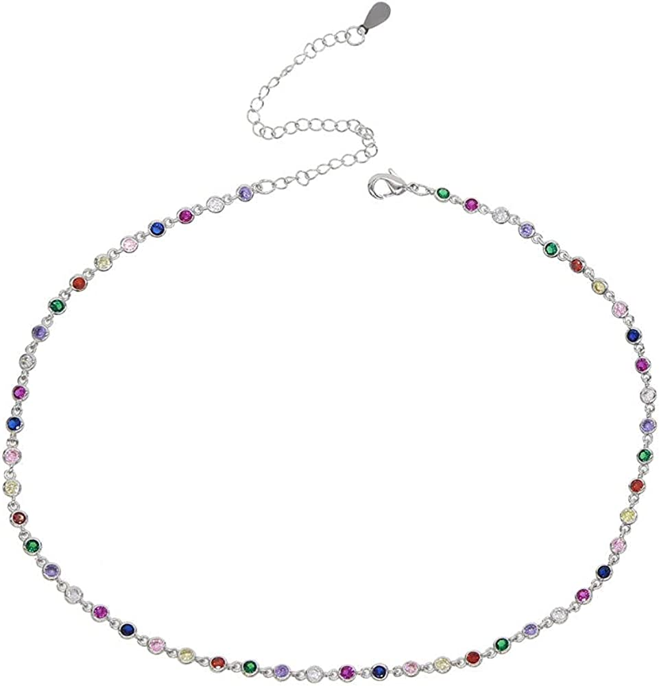 Fashion Stunning Rainbow Colored Jewelry Round Station Link Chain Rainbow Color Choker Necklace For Women 35cm