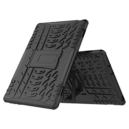 TenYll Huawei MediaPad M3 Lite 10 Hülle, 2in1 Silikon Rückseite Schutzhülle,Heavy Duty Tough Rugged Shock Proof Hülle,Mit Halterung Doppeltem Schutz Cover für Huawei MediaPad M3 Lite 10 -Schwarz