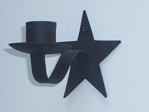 Star Wall Sconce Black Candle Holder, 3.5 Inches Long