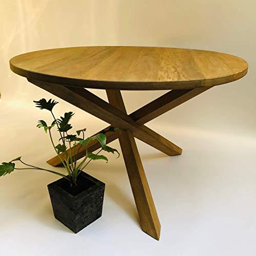 Mesa de comedor base matatena, en madera de rosamorada, 1.25m