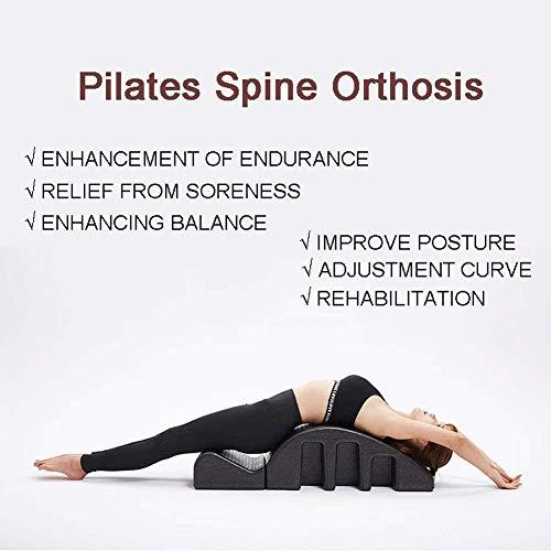 Pilates Spine Spine Corrector de Apoyo Pilates Volver alivio del dolor alineación de la columna vertebral de la vértebra cervical Yoga Corrector, Negro Pilates barril, curva trasera de la Salud, Yoga
