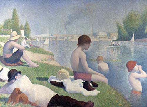 Bathers At Asnieres by Georges Seurat Wooden Puzzles for Adults, 300 Piece Kids Jigsaw Puzzles Game Toys Gift for Children Boys and Girls, 10' x 15'