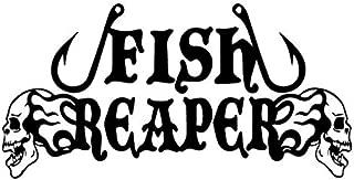 Hitada - 16.8CMx8.4CM Fish Reaper Skull Fishing Hooks Flame Car Window Vinyl Decal Car Sticker Black/Silver