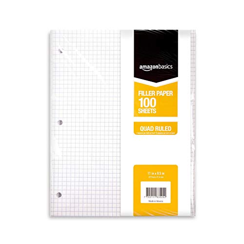 AmazonBasics Graph Ruled Loose Leaf Filler Paper, 100 Sheet, 11 x 8.5 Inch, Pack of 6