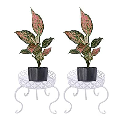 Amazon - Save 50%: CeqCin Plant Stand Indoor Outdoor Metal Flower Pot Rack, B, White