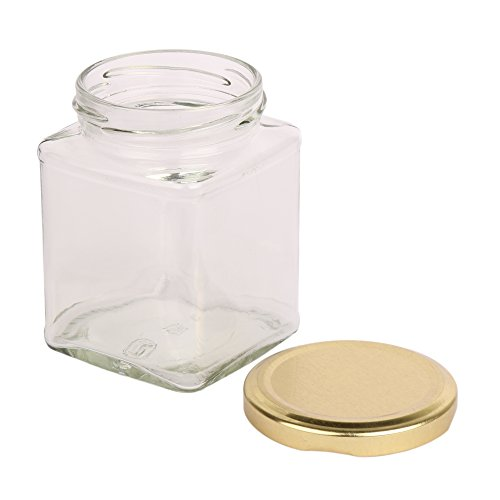 The Retailer House Pure Source India 150 Gram Glass Jar Square Shape ,With Metal Golden Color Cap Rust Proof Air Tight , (Set Of 6 Pcs)