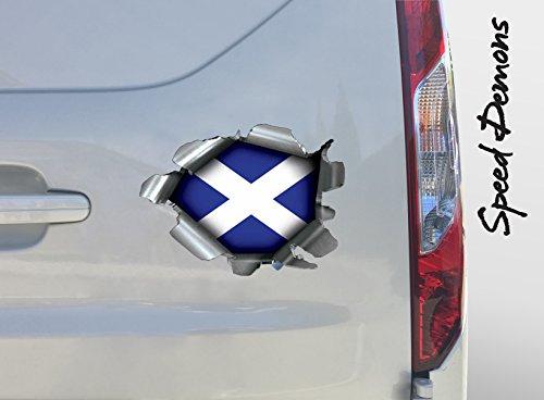 Extra Groß Burst Rip Torn Reißfestigkeit Aufkleber Graphic, selbstklebend, für jede Oberfläche auch Laptops und Autos - Schottische Flagge Fußball Rugby - Automotive grade Material keine Schäden zu