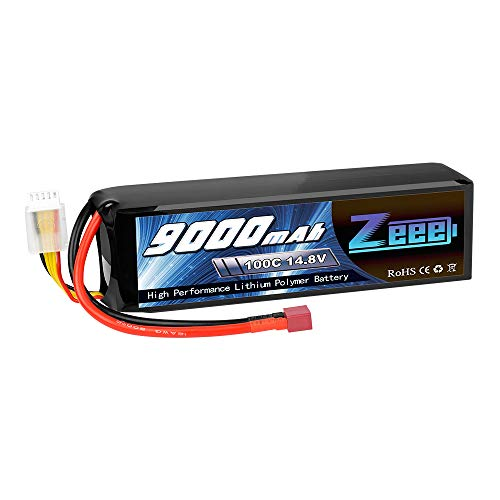 Zeee 14.8V 100C 9000mAh 4S RC Lipo Battery Deans Connector with Metal Plates for RC Car RC Truck Traxxas RC Tank RC Models