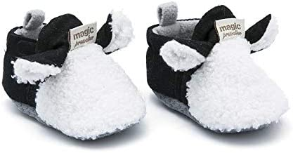 YWY Baby Boys Girls Cozy Fleece Shoes Slippers Booties with Non Skid Bottom Cotton Linling Newborn Boys Girls Infant Warm Socks Booties Slip On Crib Indoor First-Walking Shoes