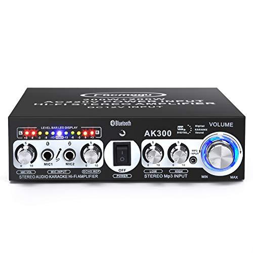 Facmogu AK300 200 W + 200 W amplificador de potencia de audio, 2 entradas de micrófono, Bluetooth 5.0 Hi-Fi estéreo Karaoke receptor de audio digital para altavoces de cine en casa, enchufe de 110 V de EE. UU. adaptador de alimentación integrado