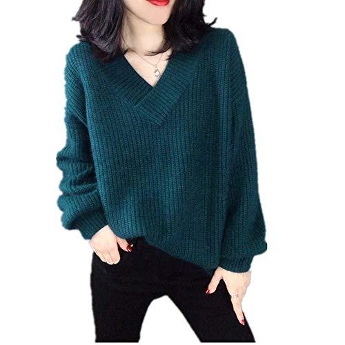 N\P Mujeres Otoño Invierno Jersey Suéter Casual Suave Suelto V-Cuello De Punto De Algodón Suéteres Femeninos Más Tamaño Tops