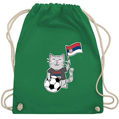 Shirtracer Fußball-Europameisterschaft 2020 Kinder - Fußball Katze Serbien - Unisize - Grün -...