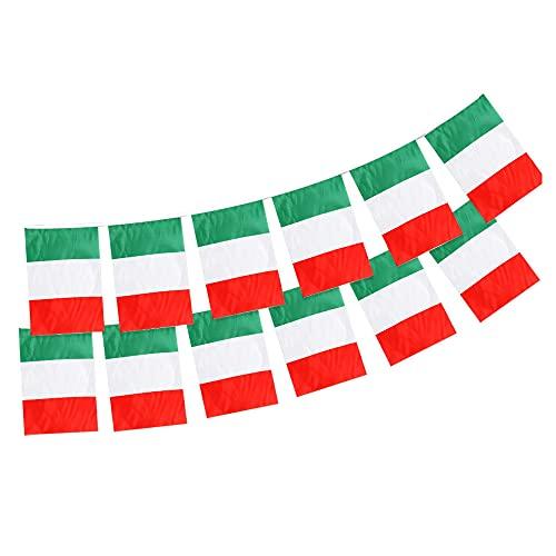 Andrà Tutto Bene Bandierine Italia 14 x 21 cm Tricolore Azzurri Nazionale Tessuto Resistente allo sbandieramento Italy Flag (2 set Ghirlanda 20 bandierine)