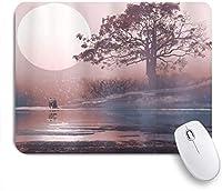 EILANNAマウスパッド 満月と湖の雄大な木と地平線上の愛のカップル ゲーミング オフィス最適 高級感 おしゃれ 防水 耐久性が良い 滑り止めゴム底 ゲーミングなど適用 用ノートブックコンピュータマウスマット