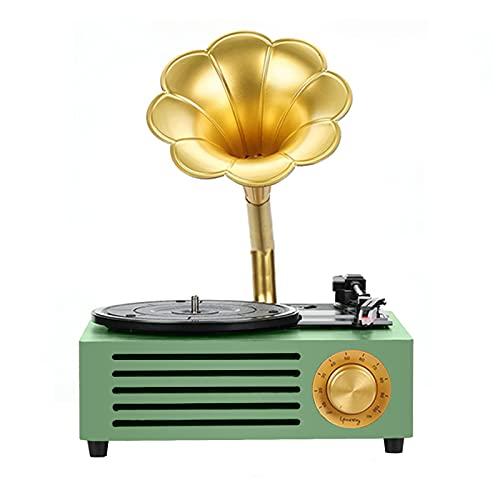 LANGTAOSHA Mini Tocadiscos Fonógrafo con Altavoz Bluetooth, Tocadiscos Vintage, Puerto De Entrada Auxiliar, Reproducción USB SD, para Decoración del Hogar,Verde