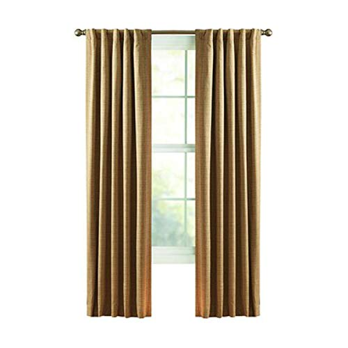 Style Selections Roberta 84-in L Solid Natural Woven Thermal Rod Pocket Curtain Panel Reduces Energy Costs
