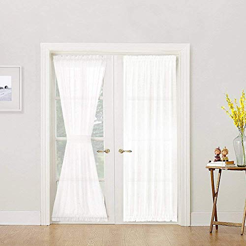 Linen Textured French Door Panel Curtains Open Weave White Sheer French Door Panels 40 inch Length, Single Panel, 1 Tieback Included