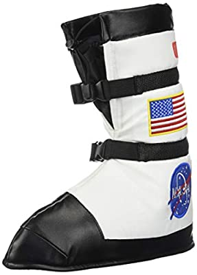 Includes one pair of black space boots, decorated with official NASA and American flag patches Will secure to your child's feet with drawstrings and buckles. Boots can even be worn over any shoes Great accessory to add to any child's astronaut costum...