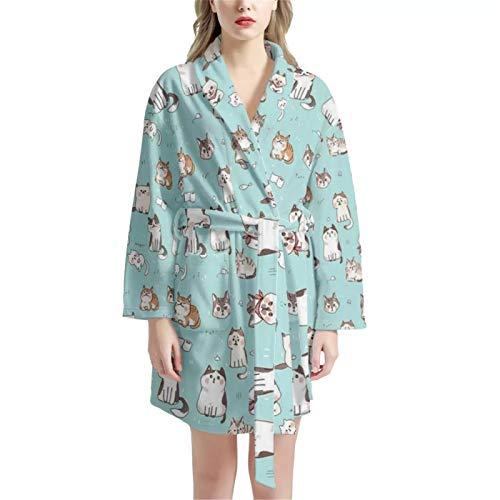 Agroupdream Damen Bademantel Winter Warm Morgenmantel Langarm Frottee Robe Gr. One size, katze