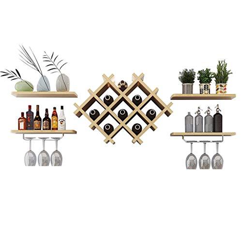 POETRY Combinación de estantes para Vino Estantes para Vino montados en la Pared Estantes de Almacenamiento de exhibición Estante para Colgar en la Pared para Colgar en la Pared Estante para vinos
