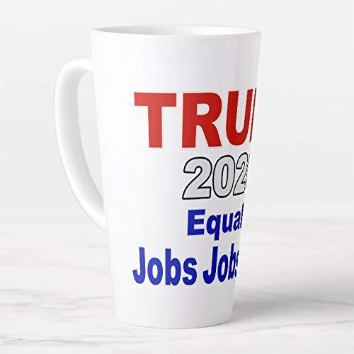 Pre's Trump 2020 Equals Jobs Jobs Jobs - Taza de café grande con tapa y cuchara, taza de té