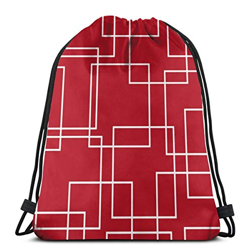 NA Kordelzug-Tragetasche, modern, rot und weiß, geometrisch, Unisex, Turnbeutel, Aufbewahrung, Rucksack, Sporttaschen für Schule, Fitnessstudio, Reisen