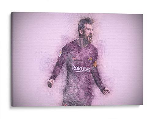 Cuadro decorativo de canvas (lienzo), Leo Messi - Barcelona - Deportes & Futbol, montado en bastidor de madera de 4.5 cm de profundidad (estilo galería). 30 x 20 cm. Tamaños adicionales disponibles. Perfecto para decorar casa u oficina. 100% Garantizado.