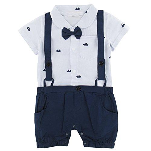 mintgreen mintgreen Säugling Junge Gentleman Strampler Hochzeitsfeier Anzug, Weiß, 12-18 Monate (Herstellergröße : 90)
