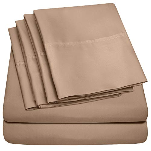 Sweet Home Collection Queen Sheets-6 Piece 1500 Thread Count Fine Brushed Microfiber Deep Pocket Set-2 EXTRA PILLOW CASES, VALUE, Taupe
