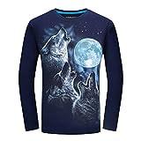 Kairuun 3D Lobo Gráficos Camisetas Hombres Cuello Redondo T-Shirt Otoño Fresco Manga Larga...
