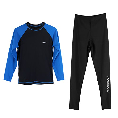 Homyl Ensemble e de Comninaison Manche Longue Protection UV Rashguard +Pantalon de Combinaison pour Hommes - Bleu Noir, XL