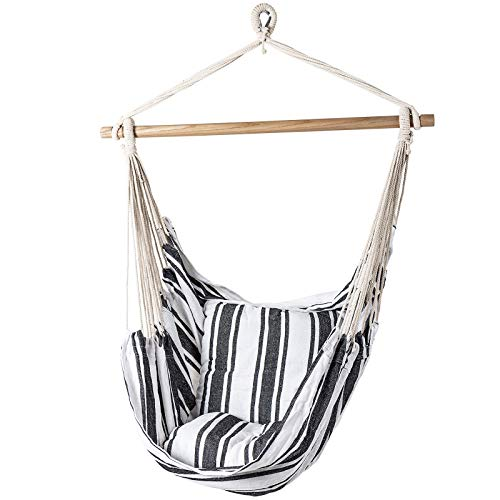 D4P Display4top Striped Hanging Chair,Hanging Swing Chair for Superior Comfort & Durability, for Indoor, Outdoor, Home, Patio, Yard, Garden,Max Weight: 120KG