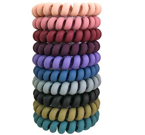 10 Pcs Spiral Hair Ties, Colorful Coil Hair Ties, Elastic Traceless Hair Ties, Matte Phone Cord Hair Ties, Waterproof Hair Coils for Women and Girls, Multicolor