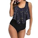 Vertvie - Bañador de 2 piezas para mujer, playa, bikini con volantes, estilo vintage, bañador acolchado push up, camiseta de tirantes corto, tanga de cintura alta A-noir Étoile XL