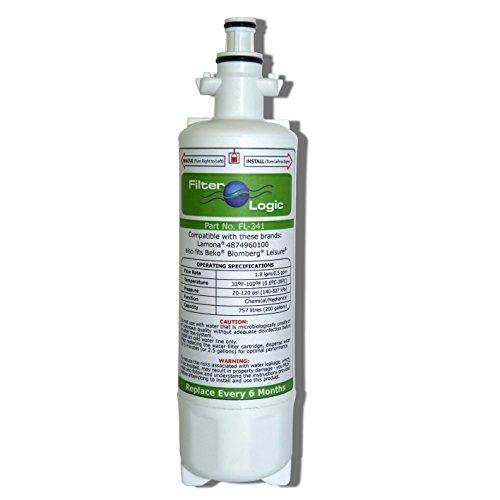 FilterLogic Outlet Filtro de Agua y Hielo FL-341para frigoríficos Beko, Howdens, Lamona y Stoves HJA6110