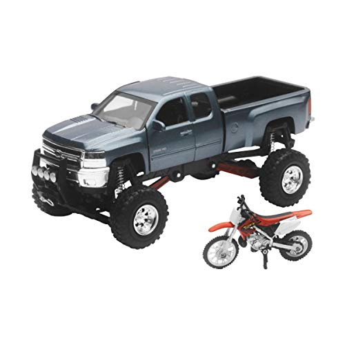 New-Ray Chevrolet 4x4 Gray Silverado Pickup Truck w/ Working Suspension and Honda Dirt Bike