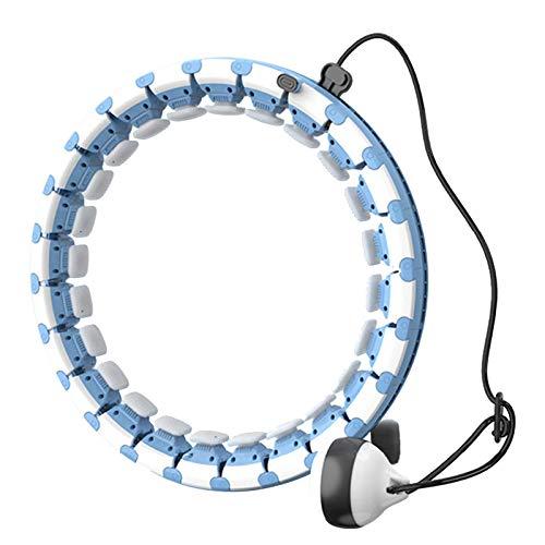 Queta Fitness Hoop Aro de fitness inteligente ajustable con nudo de masaje y 24 piezas extraíbles para principiantes, niños, adultos, fitness, adelgazamiento, ejercicio de gimnasio (azul)